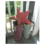 2 Metal Buckets And Metal Star