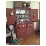 Red Painted Step Back Cabinet NO CONTENTS