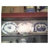 5 Pc Blue Transferware Platters