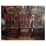 6 Antique Painted Plank Bottom Chairs