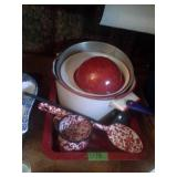 Red Enamelware Lot