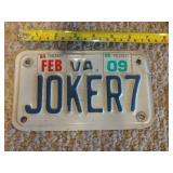 Virginia Joker7 License plate