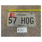 Maryland Historic 57 HOG License Plate