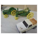 3 miscellaneous farm toys, 2 John Deere tractors
