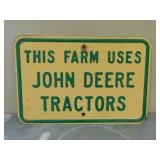 """Metal John Deere Sign/Picture- """"This Farm Uses…"""""""