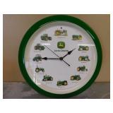John Deere Wall Hanging Clock- Tractors thru Years