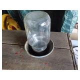 Glass Chicken Waterer with metal base