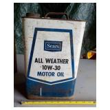 Sears All Weather 10W30 Motor Oil Can