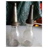 2 glass quart oil bottles with spouts