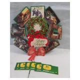 Holiday cardboard wreath and 6 John Deere