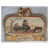 Moline wagon co. Double sided cardboard sign. 22