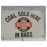 Famous Reading Anthracite metal sign. 18 x 12