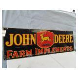 John Deere porcelain double sided sign. 72 x 24