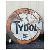 "Tydol double sided metal sign . 42"" dia"