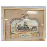 Moline Wagon Co framed picture. Double sided