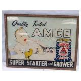 Amoco feed advertising on glass. 24 x 19