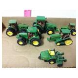 6 piece John Deer tractor toys