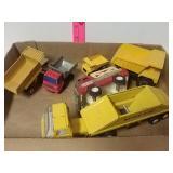 6 piece Tonka, Remco dump trucks and Buddy L