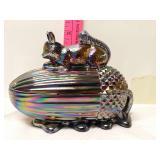 Squirrel and acorn Carnival glass jar