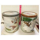 (2) popcorn tins. One Deer and one duck