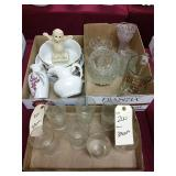 3 box lots. Glassware and decorative ware. 17