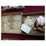 6 glass flower holders,  and 3 ceramic figurines