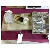 6 geese glass set and box of 3 decorative