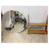 Round mirror and wooden 2 shelf