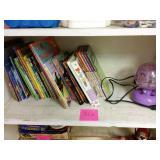 Kids books and Dora mobile light. Light works