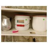 2 enamel pots and tin pitcher