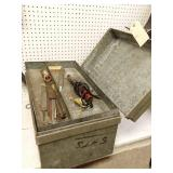 Metal tool box with tap and die set