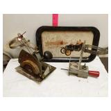 Decorative Ford tray and 2 saws