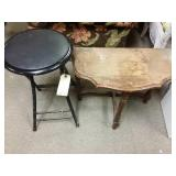 End table with folding stool