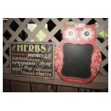 VINTAGE OWL MOTIF KITCHEN CHALKBOARD AND HERBS WALL ART