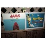 """VINTAGE MONTY PYTHON METAL SIGN AND """"JAMS"""" CUTTING BOARD"""