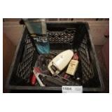 MILK CRATE FILLED WITH TOOLS INCLUDING KNIFE SHARPENERS, HONING STONES, PLANERS, SWIVEL HEAD RIVET TOOL, AND MORE
