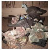 FOUR GAME BIRD BAGS AND 5 TURKEY DECOYS, MOST NEW WITH TAGS