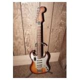 VINTAGE ELECTRIC GUITAR WITH STAND