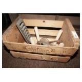 OLD PEACH CRATE WITH ANTIQUE LEAF MOLD, STEP STOOL, AND MORE