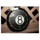 NUMBER 8 CUE BALL WALL CLOCK, STERLING AND NOBLE