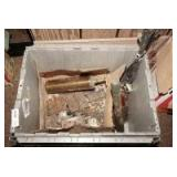 STORAGE BIN FILLED WITH ANTIQUE BRASS SPRAYER, ANTIQUE HINGES, AND MORE