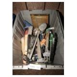STORAGE BIN FILLED WITH TOOLS INCLUDING CAULK GUNS, HEAT GUN ACCESSORY KIT, WRENCHES, SCISSORS, HAMMER, AND MUCH MORE