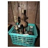 MILK CRATE WITH VINTAGE LAMPS, MCCOY PLANTER, AND MORE