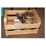 PEACH CRATE WITH OLD WATER PITCHERS, SILVERPLATE, AND MORE