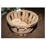 OLD PEACH BASKET AND TERRACOTTA POT
