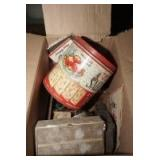 BOX LOT OF VINTAGE CURIOSITIES INCLUDING THE OLD ROAD MAPS, OLD HANDKERCHIEFS, ANTIQUE MEDICINE BOTTLES, AND MORE
