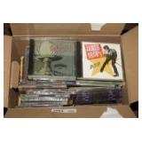 BOX LOT OF MUSIC CDS INCLUDING ALLMAN BROTHERS, STEVIE RAY VAUGHAN, JAMES BROWN, BIG MIKE AND THE BOOTY PAPAS, AND MORE