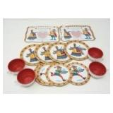 VINTAGE 14-PIECE QUEEN OF HEARTS TEA SET, LITHOGRAPH ON TIN