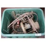 LAUNDRY BASKET FILLED WITH LARGE BURNER AND OLD CAST IRON COOKWARE