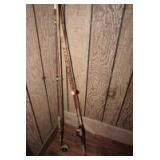 MID-CENTURY FLY ROD / REEL, SPINNING ROD / REEL, AND BAUER & BLACK CANADIAN HOCKEY STICK